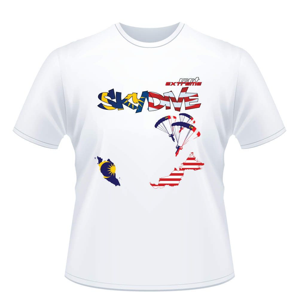Skydiving T-shirts - Skydive World - MALAYSIA - Cotton Tee -, Shirts, eXtreme 120+™ Skydiving Apparel, eXtreme 120+™ Skydiving Apparel, Skydiving Apparel, Skydiving Gear, Olympics, T-Shirts, Skydive Chicago, Skydive City, Skydive Perris, Drop Zone Apparel, USPA, united states parachute association, Freefly, BASE, World Record,