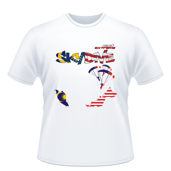Skydiving T-shirts - Skydive All World - MALAYSIA - Unisex Tee -, Shirts, eXtreme 120+™ Skydiving Apparel, eXtreme 120+™ Skydiving Apparel, Skydiving Apparel, Skydiving Gear, Olympics, T-Shirts, Skydive Chicago, Skydive City, Skydive Perris, Drop Zone Apparel, USPA, united states parachute association, Freefly, BASE, World Record,