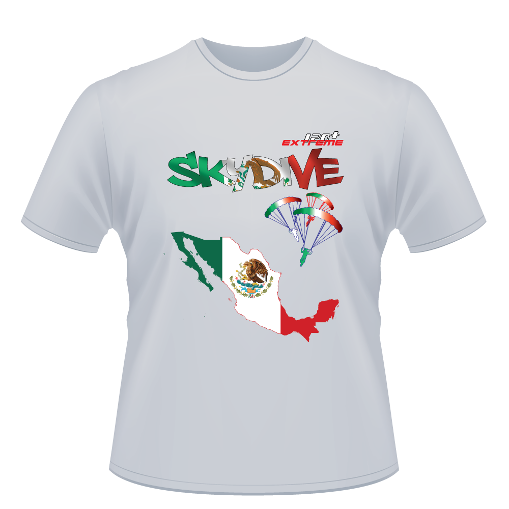 Skydiving T-shirts - Skydive World - MEXICO - Cotton Tee -, Shirts, Skydiving Apparel, Skydiving Apparel, Skydiving Apparel, Skydiving Gear, Olympics, T-Shirts, Skydive Chicago, Skydive City, Skydive Perris, Drop Zone Apparel, USPA, united states parachute association, Freefly, BASE, World Record,