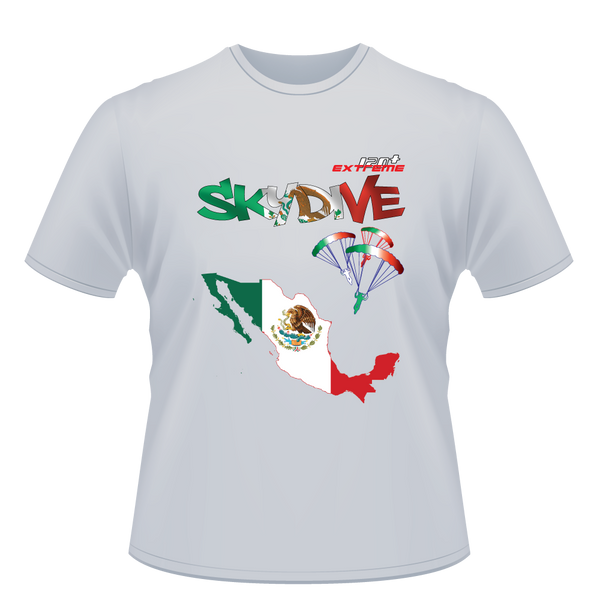 Skydiving T-shirts - Skydive World - MEXICO - Cotton Tee -, T-shirt, eXtreme 120+™ Skydiving Apparel, eXtreme 120+™ Skydiving Apparel, Skydiving Apparel, Skydiving Gear, Olympics, T-Shirts, Skydive Chicago, Skydive City, Skydive Perris, Drop Zone Apparel, USPA, united states parachute association, Freefly, BASE, World Record,