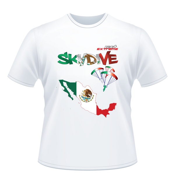 Skydiving T-shirts - Skydive All World - MEXICO - Unisex Tee -, T-shirt, eXtreme 120+™ Skydiving Apparel, eXtreme 120+™ Skydiving Apparel, Skydiving Apparel, Skydiving Gear, Olympics, T-Shirts, Skydive Chicago, Skydive City, Skydive Perris, Drop Zone Apparel, USPA, united states parachute association, Freefly, BASE, World Record,