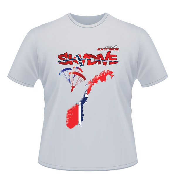 Skydiving T-shirts - Skydive World - NORWAY - Cotton Tee -, Shirts, eXtreme 120+™ Skydiving Apparel, eXtreme 120+™ Skydiving Apparel, Skydiving Apparel, Skydiving Gear, Olympics, T-Shirts, Skydive Chicago, Skydive City, Skydive Perris, Drop Zone Apparel, USPA, united states parachute association, Freefly, BASE, World Record,