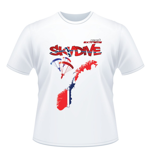 Skydiving T-shirts - Skydive All World - NORWAY - Unisex Tee -, T-shirt, eXtreme 120+™ Skydiving Apparel, Skydiving Apparel, Skydiving Apparel, Skydiving Gear, Olympics, T-Shirts, Skydive Chicago, Skydive City, Skydive Perris, Drop Zone Apparel, USPA, united states parachute association, Freefly, BASE, World Record,