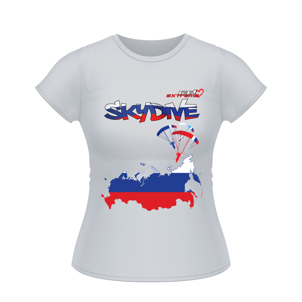 Skydiving T-shirts - Skydive All World - RUSSIA - Ladies' Tee -, Shirts, Skydiving Apparel, Skydiving Apparel, Skydiving Apparel, Skydiving Gear, Olympics, T-Shirts, Skydive Chicago, Skydive City, Skydive Perris, Drop Zone Apparel, USPA, united states parachute association, Freefly, BASE, World Record,