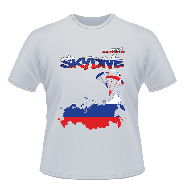 Skydiving T-shirts - Skydive World - RUSSIA - Cotton Tee -, Shirts, eXtreme 120+™ Skydiving Apparel, Skydiving Apparel, Skydiving Apparel, Skydiving Gear, Olympics, T-Shirts, Skydive Chicago, Skydive City, Skydive Perris, Drop Zone Apparel, USPA, united states parachute association, Freefly, BASE, World Record,