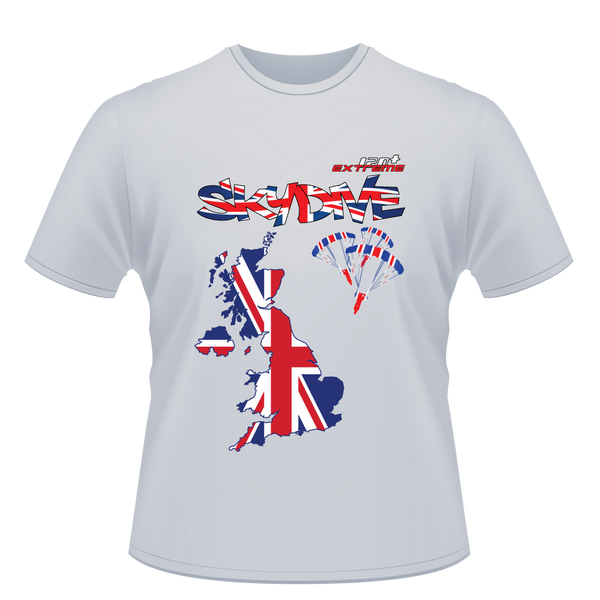 Skydiving T-shirts - Skydive World - The United Kingdom (UK) - Cotton Tee -, Shirts, eXtreme 120+™ Skydiving Apparel, Skydiving Apparel, Skydiving Apparel, Skydiving Gear, Olympics, T-Shirts, Skydive Chicago, Skydive City, Skydive Perris, Drop Zone Apparel, USPA, united states parachute association, Freefly, BASE, World Record,