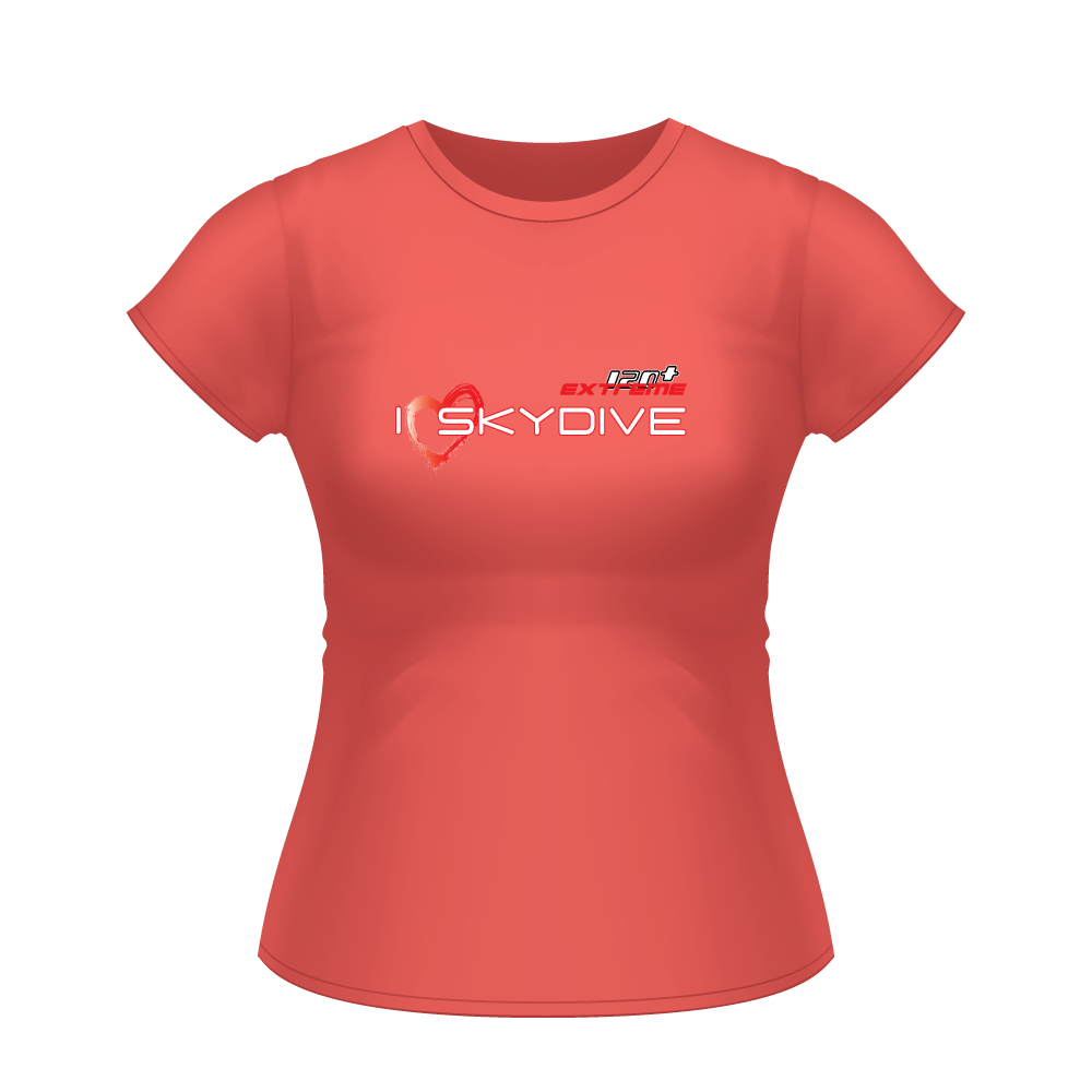 Skydiving T-shirts I ♡ Skydive - First Stupid Jump - eXtreme(RED) - Short Sleeve Women's T-shirt, RED, Skydiving Apparel, Skydiving Apparel, Skydiving Apparel, Skydiving Gear, Olympics, T-Shirts, Skydive Chicago, Skydive City, Skydive Perris, Drop Zone Apparel, USPA, united states parachute association, Freefly, BASE, World Record,