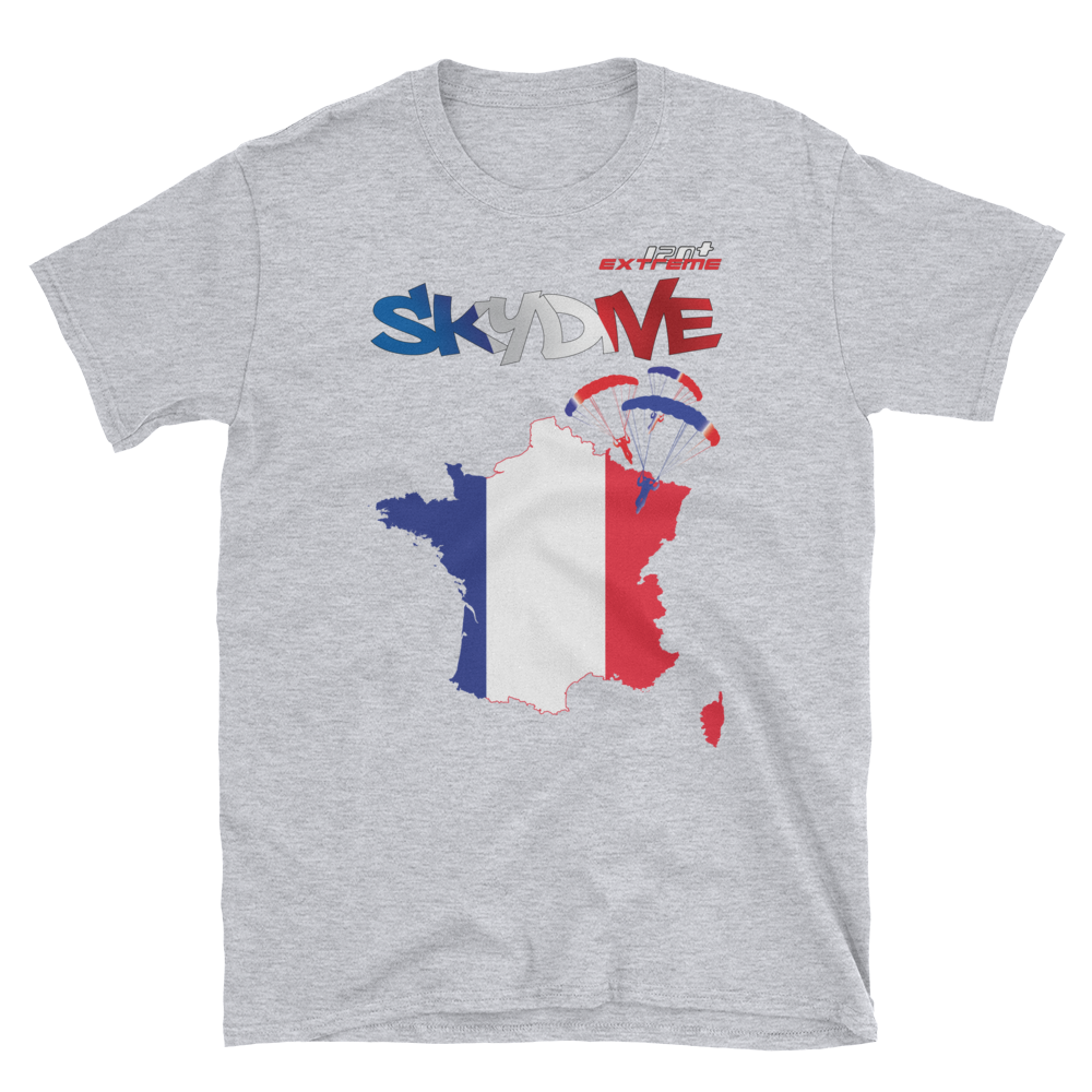 Skydiving T-shirts - Skydive World - FRANCE - Cotton Tee -, Shirts, Skydiving Apparel, Skydiving Apparel, Skydiving Apparel, Skydiving Gear, Olympics, T-Shirts, Skydive Chicago, Skydive City, Skydive Perris, Drop Zone Apparel, USPA, united states parachute association, Freefly, BASE, World Record,