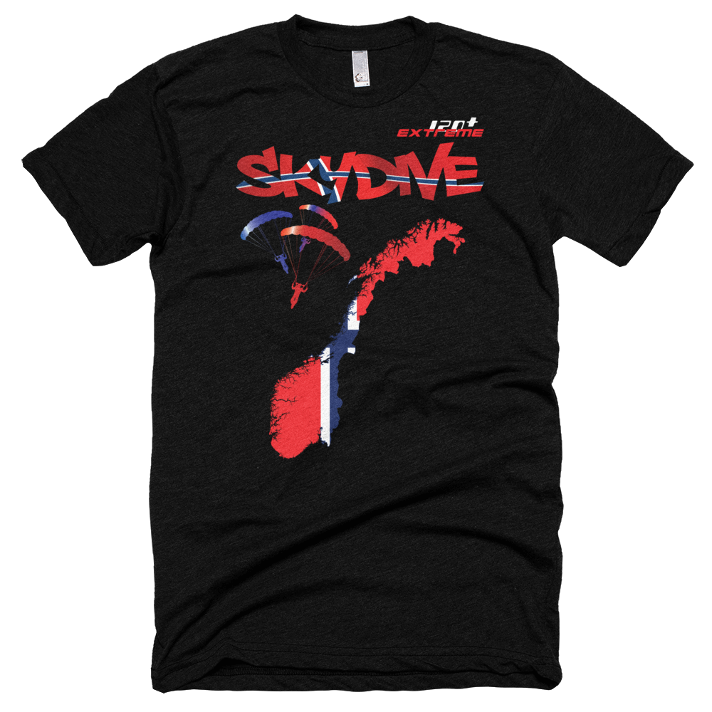 Skydiving T-shirts - Skydive All World - NORWAY - Unisex Tee -, T-shirt, eXtreme 120+™ Skydiving Apparel, eXtreme 120+™ Skydiving Apparel, Skydiving Apparel, Skydiving Gear, Olympics, T-Shirts, Skydive Chicago, Skydive City, Skydive Perris, Drop Zone Apparel, USPA, united states parachute association, Freefly, BASE, World Record,