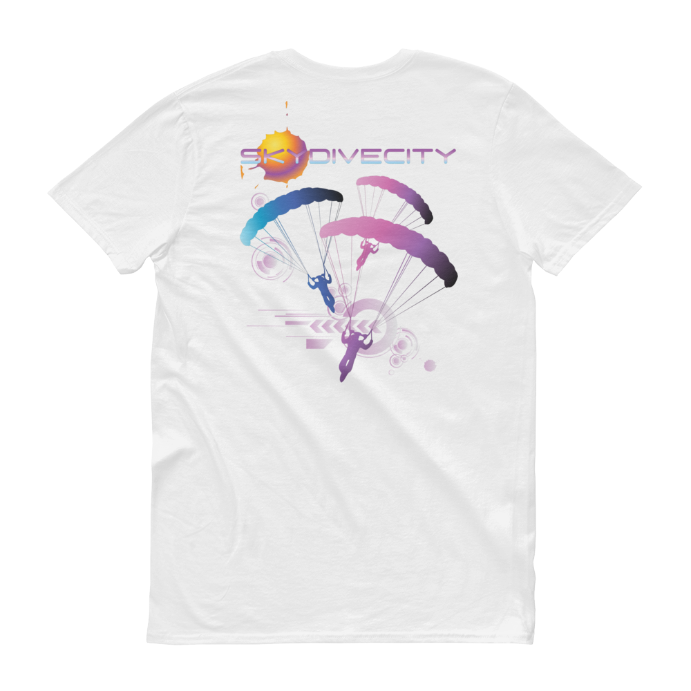 Skydiving T-shirts Skydive City - Flamingo - Men`s Colored T-Shirts, Men's Colored Tees, Skydiving Apparel, Skydiving Apparel, Skydiving Apparel, Skydiving Gear, Olympics, T-Shirts, Skydive Chicago, Skydive City, Skydive Perris, Drop Zone Apparel, USPA, united states parachute association, Freefly, BASE, World Record,