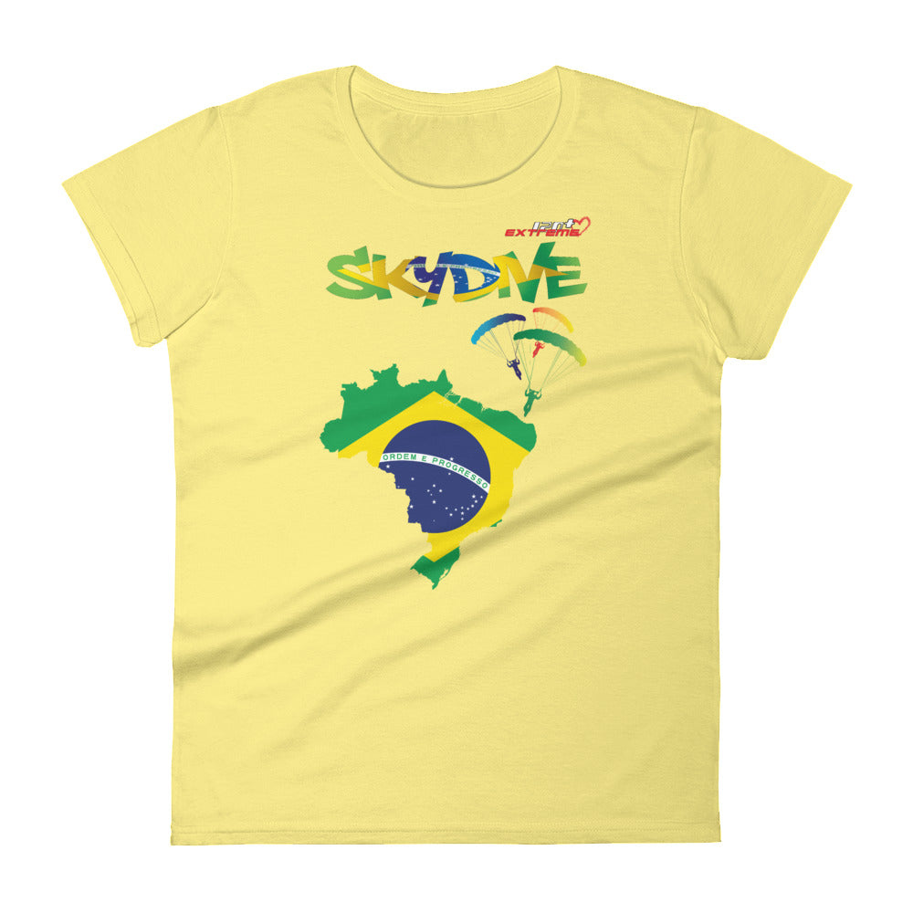 Skydiving T-shirts - Skydive All World - BRAZIL - Ladies' Tee -, Shirts, Skydiving Apparel, Skydiving Apparel, Skydiving Apparel, Skydiving Gear, Olympics, T-Shirts, Skydive Chicago, Skydive City, Skydive Perris, Drop Zone Apparel, USPA, united states parachute association, Freefly, BASE, World Record,