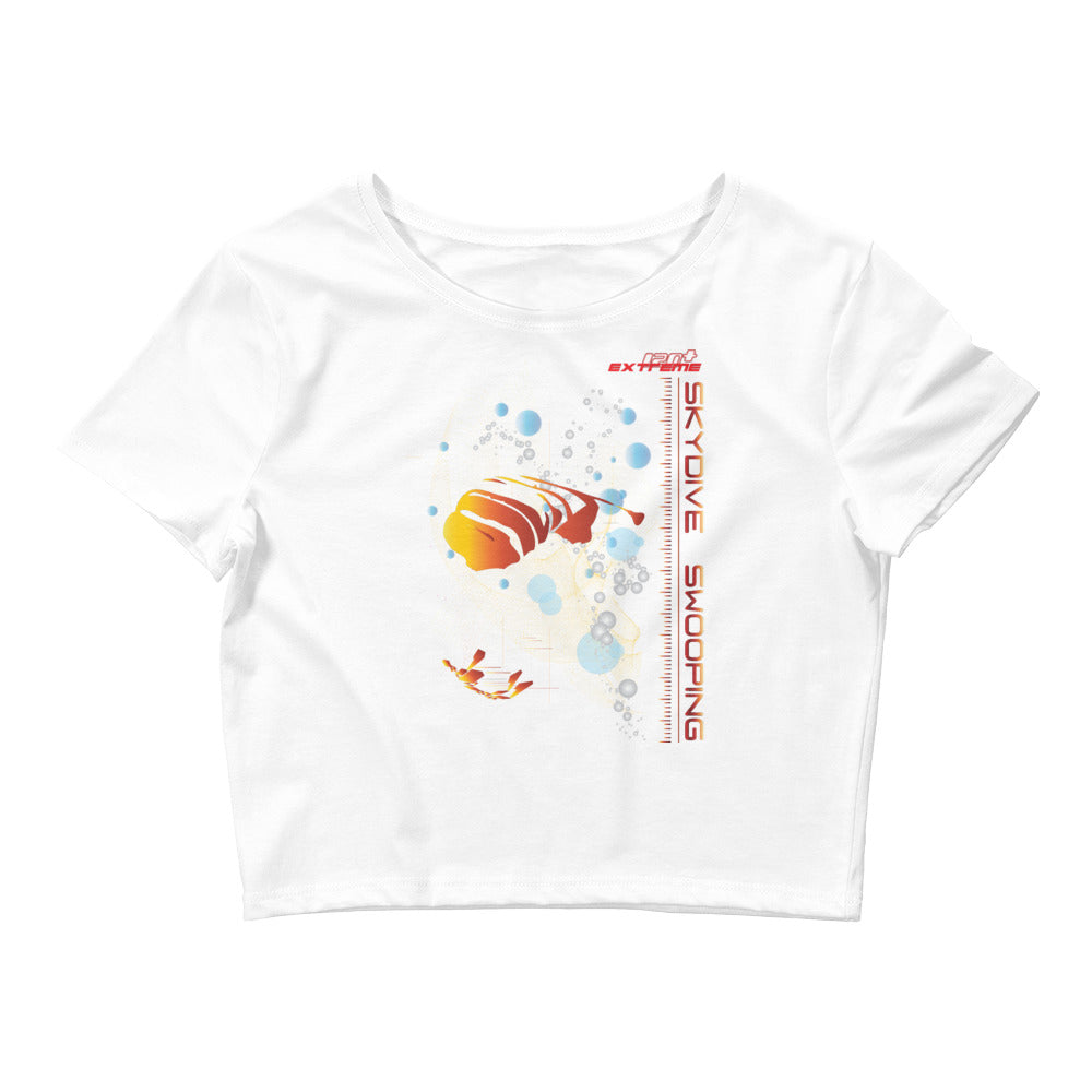 Skydiving T-shirts Women`s Crop Top - Skydive SWOOP -, , Skydiving Apparel, Skydiving Apparel, Skydiving Apparel, Skydiving Gear, Olympics, T-Shirts, Skydive Chicago, Skydive City, Skydive Perris, Drop Zone Apparel, USPA, united states parachute association, Freefly, BASE, World Record,