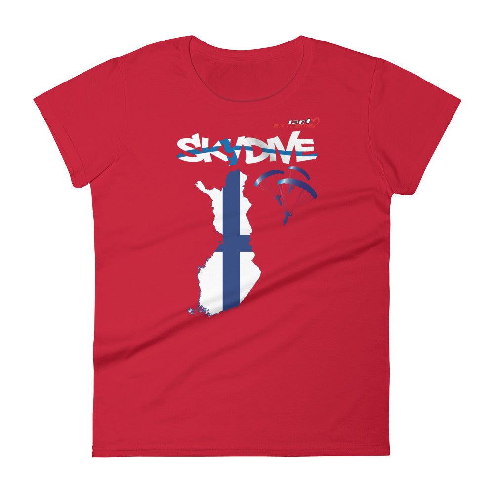 Skydiving T-shirts - Skydive All World - FINLAND - Ladies' Tee -, Shirts, Skydiving Apparel, Skydiving Apparel, Skydiving Apparel, Skydiving Gear, Olympics, T-Shirts, Skydive Chicago, Skydive City, Skydive Perris, Drop Zone Apparel, USPA, united states parachute association, Freefly, BASE, World Record,