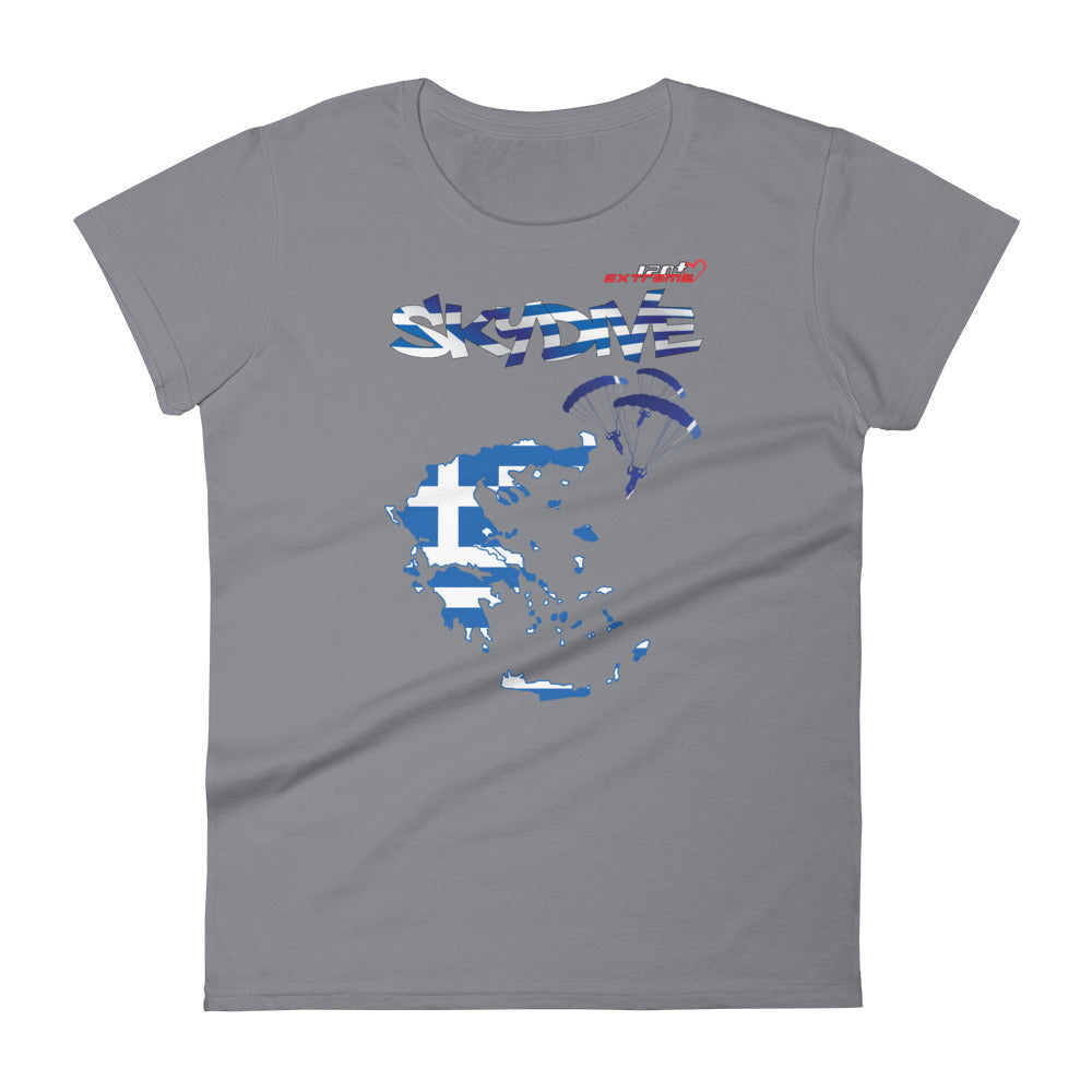 Skydiving T-shirts - Skydive All World - GREECE - Ladies' Tee -, Shirts, Skydiving Apparel, Skydiving Apparel, Skydiving Apparel, Skydiving Gear, Olympics, T-Shirts, Skydive Chicago, Skydive City, Skydive Perris, Drop Zone Apparel, USPA, united states parachute association, Freefly, BASE, World Record,