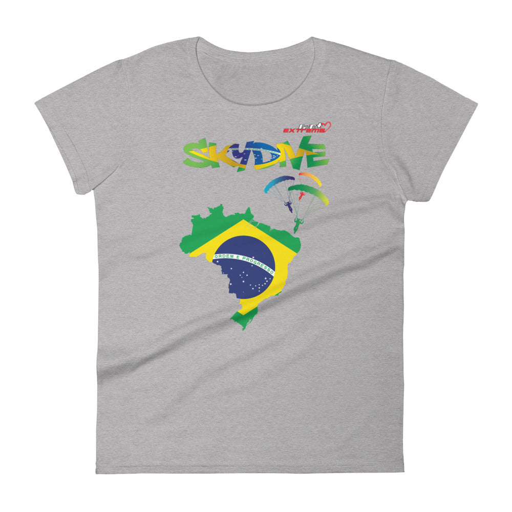 Skydiving T-shirts - Skydive Around - BRAZIL - Ladies' Tee -, Shirts, Skydiving Apparel, Skydiving Apparel, Skydiving Apparel, Skydiving Gear, Olympics, T-Shirts, Skydive Chicago, Skydive City, Skydive Perris, Drop Zone Apparel, USPA, united states parachute association, Freefly, BASE, World Record,