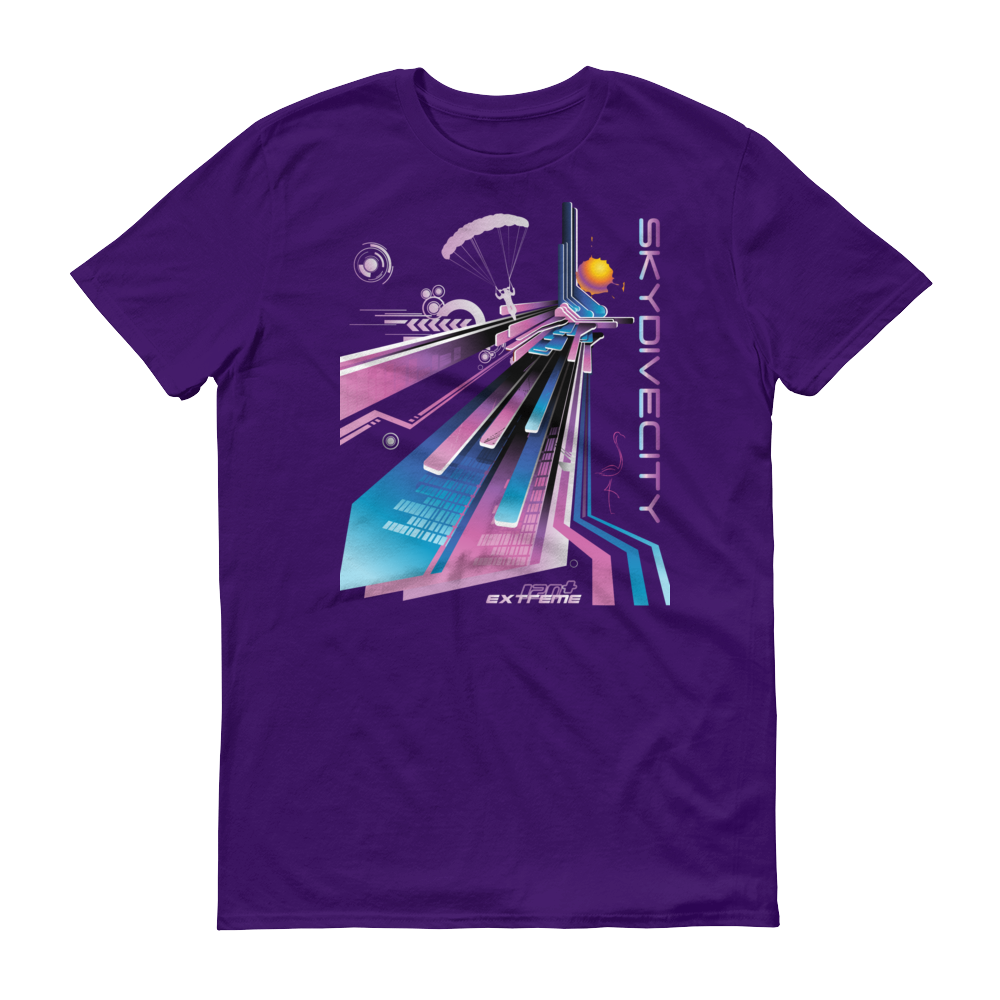 Skydiving T-shirts Skydive City - Flamingo - Men`s Colored T-Shirts, Men's Colored Tees, eXtreme 120+™ Skydiving Apparel, eXtreme 120+™ Skydiving Apparel, Skydiving Apparel, Skydiving Gear, Olympics, T-Shirts, Skydive Chicago, Skydive City, Skydive Perris, Drop Zone Apparel, USPA, united states parachute association, Freefly, BASE, World Record,