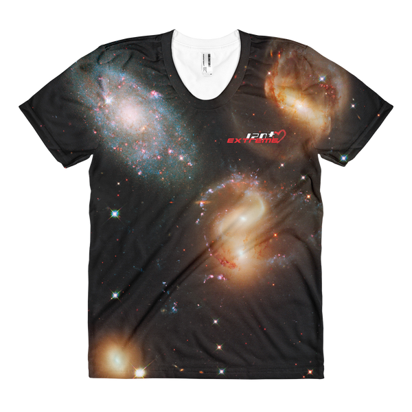 Skydiving T-shirts SPACE - Galactic wreckage in Stephan's Quintet - Women's sublimation t-shirt, T-shirt, Skydiving Apparel, Skydiving Apparel, Skydiving Apparel, Skydiving Gear, Olympics, T-Shirts, Skydive Chicago, Skydive City, Skydive Perris, Drop Zone Apparel, USPA, united states parachute association, Freefly, BASE, World Record,