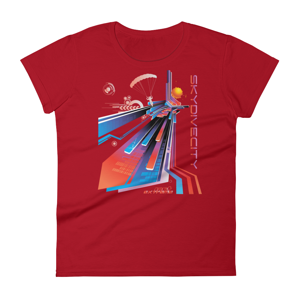 Skydiving T-shirts Skydive City - Sunset - Women`s Colored T-Shirts, Women's Colored Tees, eXtreme 120+™ Skydiving Apparel, eXtreme 120+™ Skydiving Apparel, Skydiving Apparel, Skydiving Gear, Olympics, T-Shirts, Skydive Chicago, Skydive City, Skydive Perris, Drop Zone Apparel, USPA, united states parachute association, Freefly, BASE, World Record,
