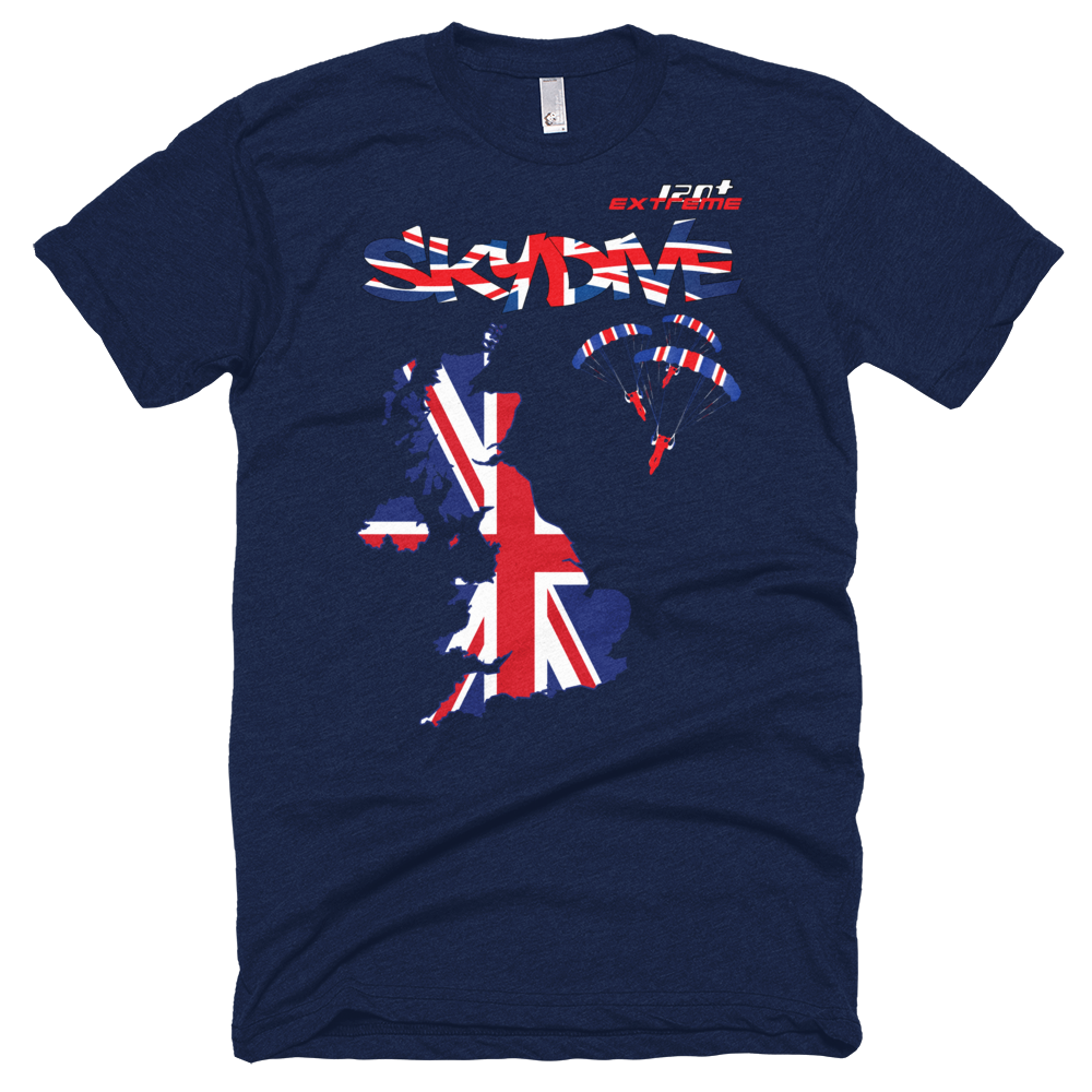 Skydiving T-shirts - Skydive All World - UK - The United Kingdom - Unisex Tee -, Shirts, Skydiving Apparel, Skydiving Apparel, Skydiving Apparel, Skydiving Gear, Olympics, T-Shirts, Skydive Chicago, Skydive City, Skydive Perris, Drop Zone Apparel, USPA, united states parachute association, Freefly, BASE, World Record,
