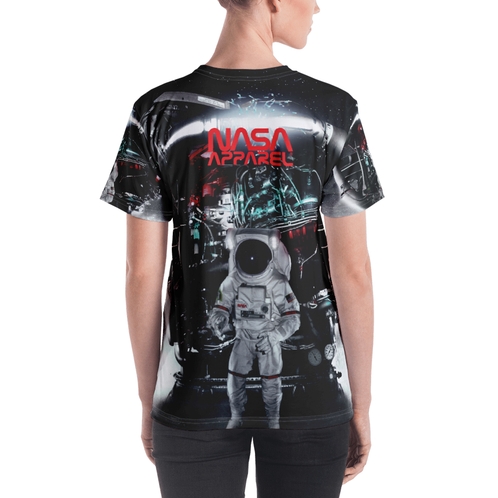 Skydiving T-shirts NASA - Astronaut in Darkness and Meteors - Women's sublimation t-shirt, T-shirt, Skydiving Apparel, Skydiving Apparel, Skydiving Apparel, Skydiving Gear, Olympics, T-Shirts, Skydive Chicago, Skydive City, Skydive Perris, Drop Zone Apparel, USPA, united states parachute association, Freefly, BASE, World Record,