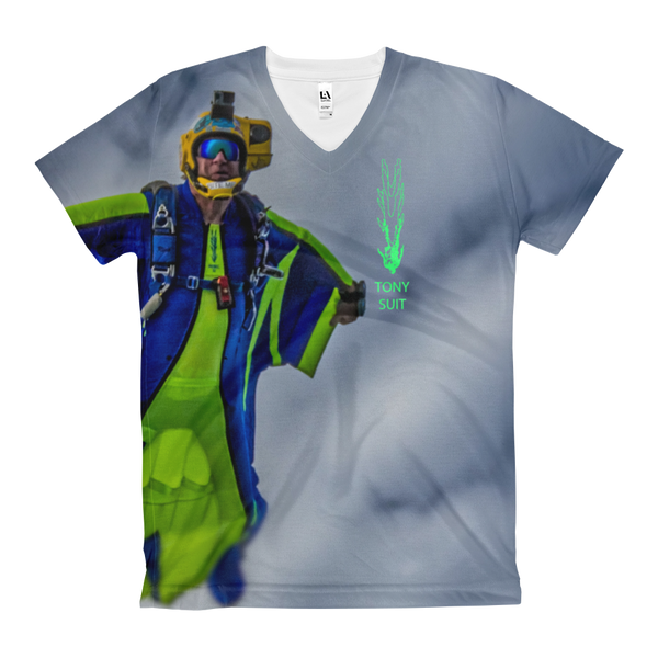 Skydiving T-shirts - Tony Suits - Bite Me - Women's V-Neck Tee -, Women's All-Over, eXtreme 120+™ Skydiving Apparel, Skydiving Apparel, Skydiving Apparel, Skydiving Gear, Olympics, T-Shirts, Skydive Chicago, Skydive City, Skydive Perris, Drop Zone Apparel, USPA, united states parachute association, Freefly, BASE, World Record,
