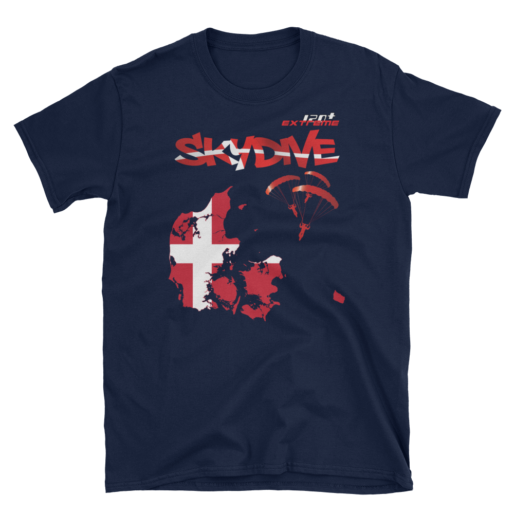Skydiving T-shirts - Skydive World - DENMARK - Cotton Tee -, Shirts, eXtreme 120+™ Skydiving Apparel, eXtreme 120+™ Skydiving Apparel, Skydiving Apparel, Skydiving Gear, Olympics, T-Shirts, Skydive Chicago, Skydive City, Skydive Perris, Drop Zone Apparel, USPA, united states parachute association, Freefly, BASE, World Record,