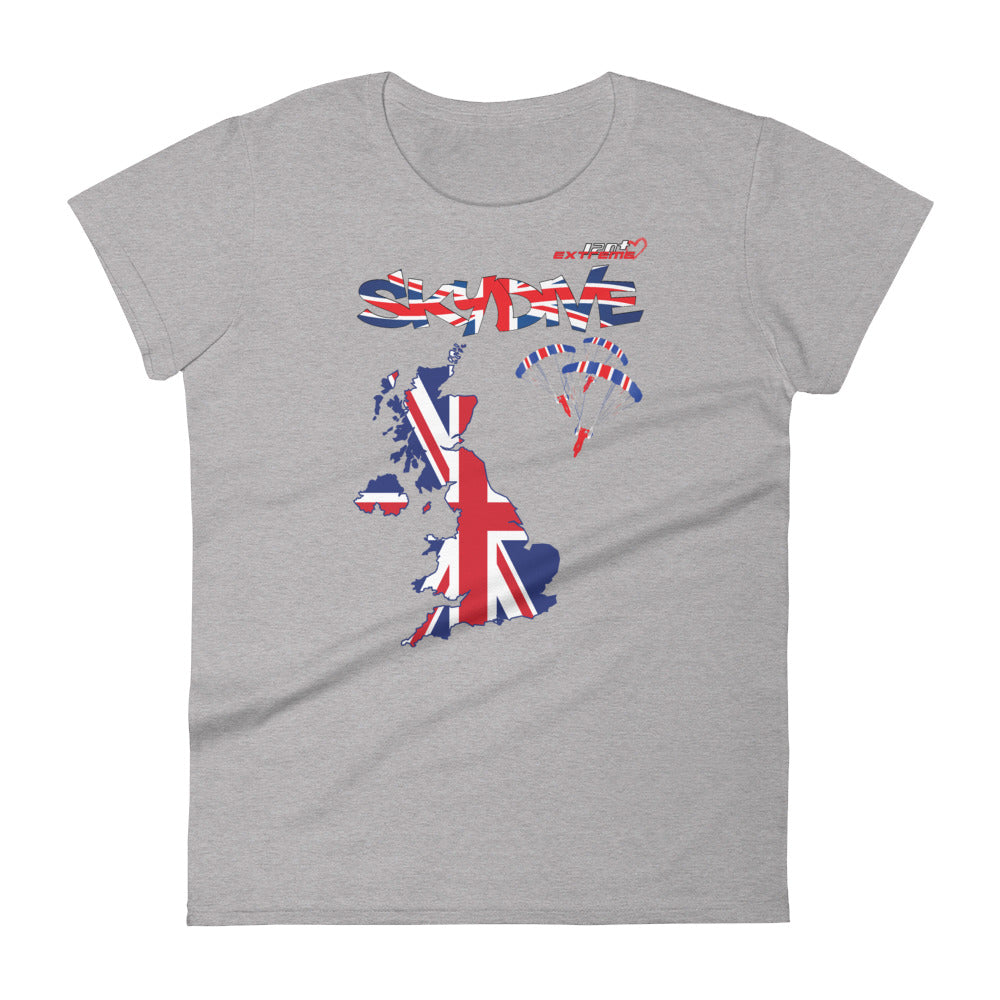 Skydiving T-shirts - Skydive All World - UK - The United Kingdom - Ladies' Tee, Shirts, Skydiving Apparel, Skydiving Apparel, Skydiving Apparel, Skydiving Gear, Olympics, T-Shirts, Skydive Chicago, Skydive City, Skydive Perris, Drop Zone Apparel, USPA, united states parachute association, Freefly, BASE, World Record,