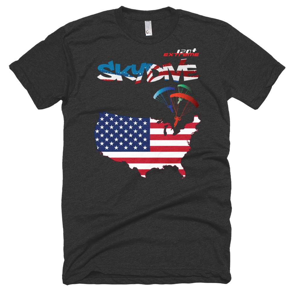 Skydiving T-shirts - Skydive All World - AMERICA - Unisex Tee -, T-shirt, eXtreme 120+™ Skydiving Apparel, eXtreme 120+™ Skydiving Apparel, Skydiving Apparel, Skydiving Gear, Olympics, T-Shirts, Skydive Chicago, Skydive City, Skydive Perris, Drop Zone Apparel, USPA, united states parachute association, Freefly, BASE, World Record,