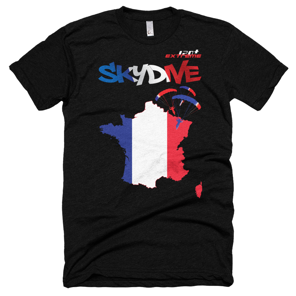 Skydiving T-shirts - Skydive All World - FRANCE - Unisex Tee -, Shirts, eXtreme 120+™ Skydiving Apparel, eXtreme 120+™ Skydiving Apparel, Skydiving Apparel, Skydiving Gear, Olympics, T-Shirts, Skydive Chicago, Skydive City, Skydive Perris, Drop Zone Apparel, USPA, united states parachute association, Freefly, BASE, World Record,
