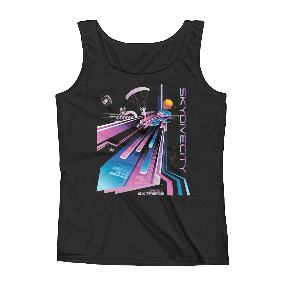 Skydiving T-shirts Ladies' Tank - Skydive City - Flamingo, Tanks, eXtreme 120+™ Skydiving Apparel, eXtreme 120+™ Skydiving Apparel, Skydiving Apparel, Skydiving Gear, Olympics, T-Shirts, Skydive Chicago, Skydive City, Skydive Perris, Drop Zone Apparel, USPA, united states parachute association, Freefly, BASE, World Record,