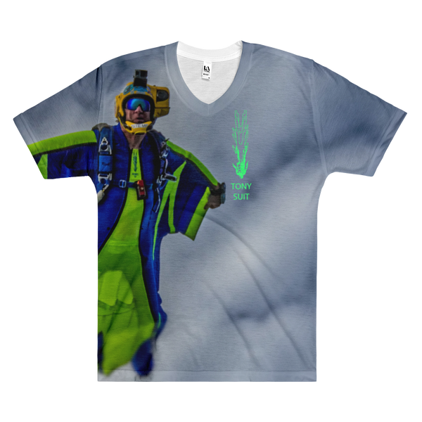 Skydiving T-shirts - Tony Suits - Bite Me - Men's V-Neck Tee -, Men's All-Over, eXtreme 120+™ Skydiving Apparel, eXtreme 120+™ Skydiving Apparel, Skydiving Apparel, Skydiving Gear, Olympics, T-Shirts, Skydive Chicago, Skydive City, Skydive Perris, Drop Zone Apparel, USPA, united states parachute association, Freefly, BASE, World Record,