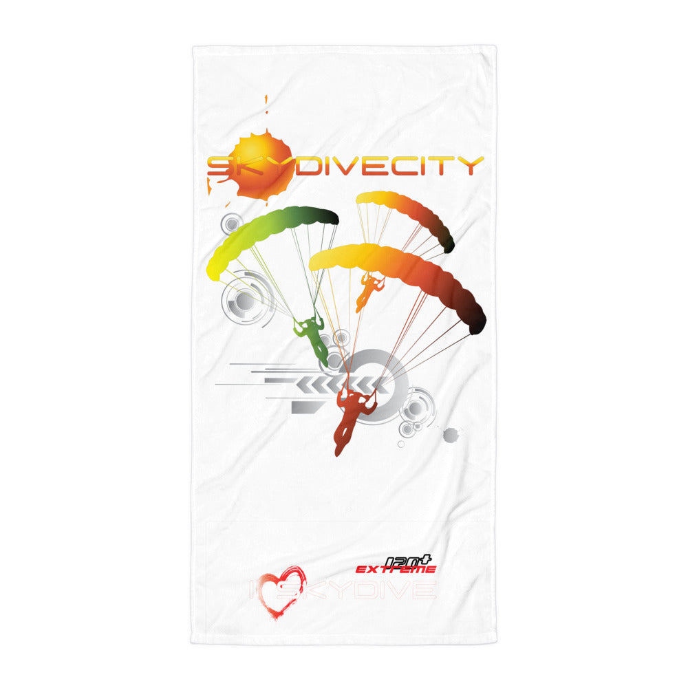 Skydiving T-shirts SkydiveCity Sun - Beach Towel, Beach Towel, eXtreme 120+™ Skydiving Apparel, eXtreme 120+™ Skydiving Apparel, Skydiving Apparel, Skydiving Gear, Olympics, T-Shirts, Skydive Chicago, Skydive City, Skydive Perris, Drop Zone Apparel, USPA, united states parachute association, Freefly, BASE, World Record,