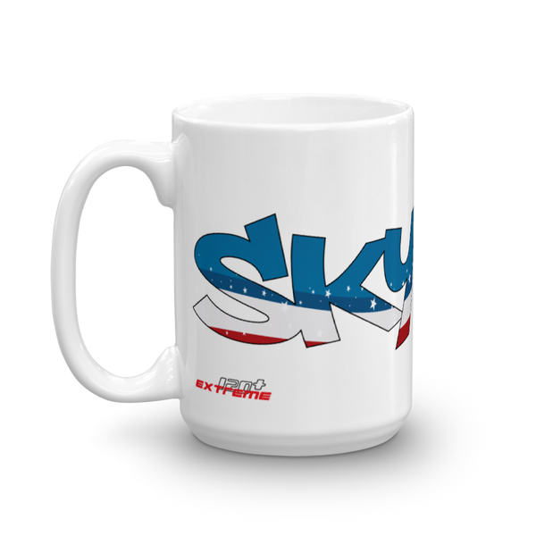 Skydiving T-shirts Skydiving Mug Team America, White Mugs, eXtreme 120+™ Skydiving Apparel, Skydiving Apparel, Skydiving Apparel, Skydiving Gear, Olympics, T-Shirts, Skydive Chicago, Skydive City, Skydive Perris, Drop Zone Apparel, USPA, united states parachute association, Freefly, BASE, World Record,