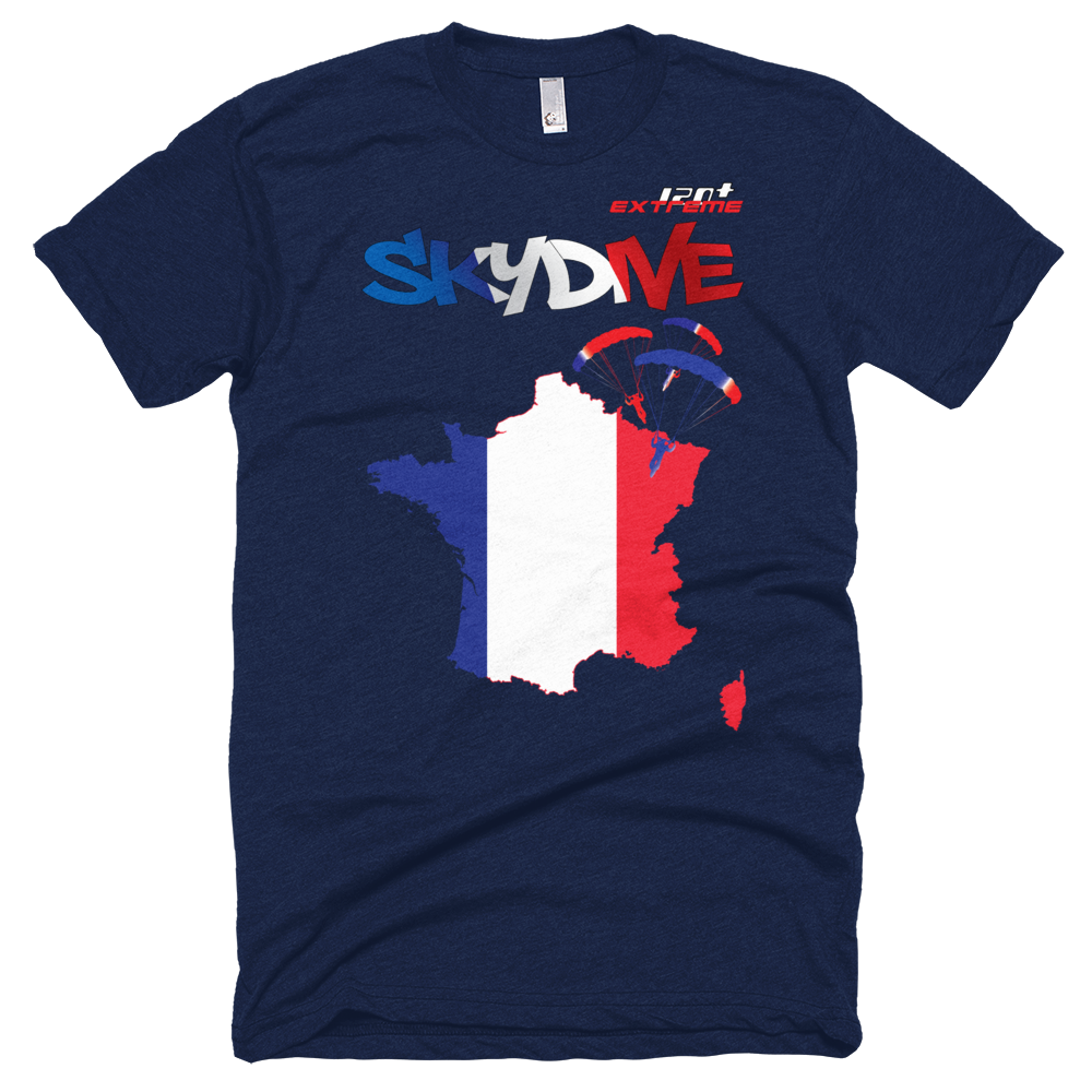 Skydiving T-shirts - Skydive All World - FRANCE - Unisex Tee -, T-shirt, eXtreme 120+™ Skydiving Apparel, Skydiving Apparel, Skydiving Apparel, Skydiving Gear, Olympics, T-Shirts, Skydive Chicago, Skydive City, Skydive Perris, Drop Zone Apparel, USPA, united states parachute association, Freefly, BASE, World Record,