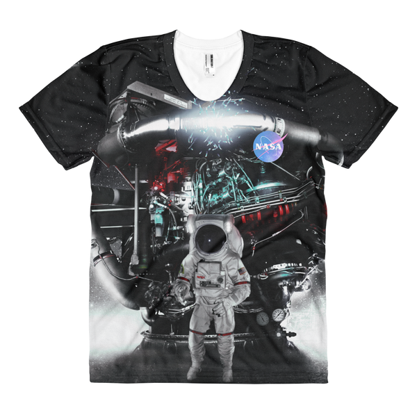 Skydiving T-shirts NASA - Astronaut in Darkness and Meteors - Women's sublimation t-shirt, T-shirt, SkydivingApparel™, Skydiving Apparel, Skydiving Apparel, Skydiving Gear, Olympics, T-Shirts, Skydive Chicago, Skydive City, Skydive Perris, Drop Zone Apparel, USPA, united states parachute association, Freefly, BASE, World Record,