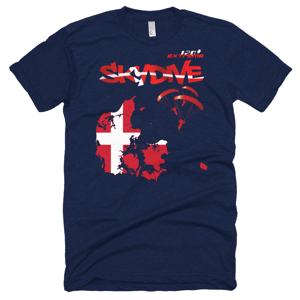 Skydiving T-shirts - Skydive All World - DENMARK - Unisex Tee -, T-shirt, eXtreme 120+™ Skydiving Apparel, Skydiving Apparel, Skydiving Apparel, Skydiving Gear, Olympics, T-Shirts, Skydive Chicago, Skydive City, Skydive Perris, Drop Zone Apparel, USPA, united states parachute association, Freefly, BASE, World Record,