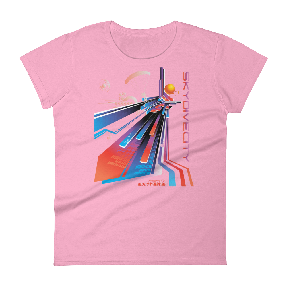 Skydiving T-shirts Skydive City - Sunset - Women`s Colored T-Shirts, Women's Colored Tees, Skydiving Apparel, Skydiving Apparel, Skydiving Apparel, Skydiving Gear, Olympics, T-Shirts, Skydive Chicago, Skydive City, Skydive Perris, Drop Zone Apparel, USPA, united states parachute association, Freefly, BASE, World Record,