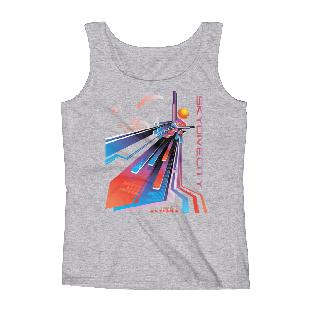 Skydiving T-shirts Ladies' Tank - Skydive City - Sunset, Tanks, eXtreme 120+™ Skydiving Apparel, Skydiving Apparel, Skydiving Apparel, Skydiving Gear, Olympics, T-Shirts, Skydive Chicago, Skydive City, Skydive Perris, Drop Zone Apparel, USPA, united states parachute association, Freefly, BASE, World Record,