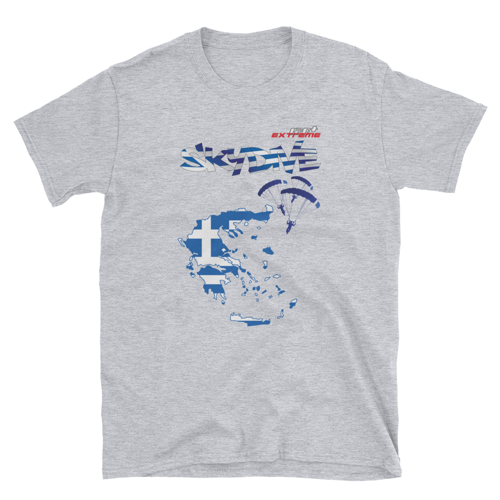 Skydiving T-shirts - Skydive World - GREECE - Cotton Tee -, Shirts, Skydiving Apparel, Skydiving Apparel, Skydiving Apparel, Skydiving Gear, Olympics, T-Shirts, Skydive Chicago, Skydive City, Skydive Perris, Drop Zone Apparel, USPA, united states parachute association, Freefly, BASE, World Record,