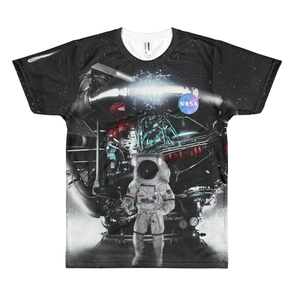 Skydiving T-shirts NASA - Astronaut in Darkness and Meteors - Short sleeve men's t-shirt, T-shirt, SkydivingApparel™, Skydiving Apparel, Skydiving Apparel, Skydiving Gear, Olympics, T-Shirts, Skydive Chicago, Skydive City, Skydive Perris, Drop Zone Apparel, USPA, united states parachute association, Freefly, BASE, World Record,