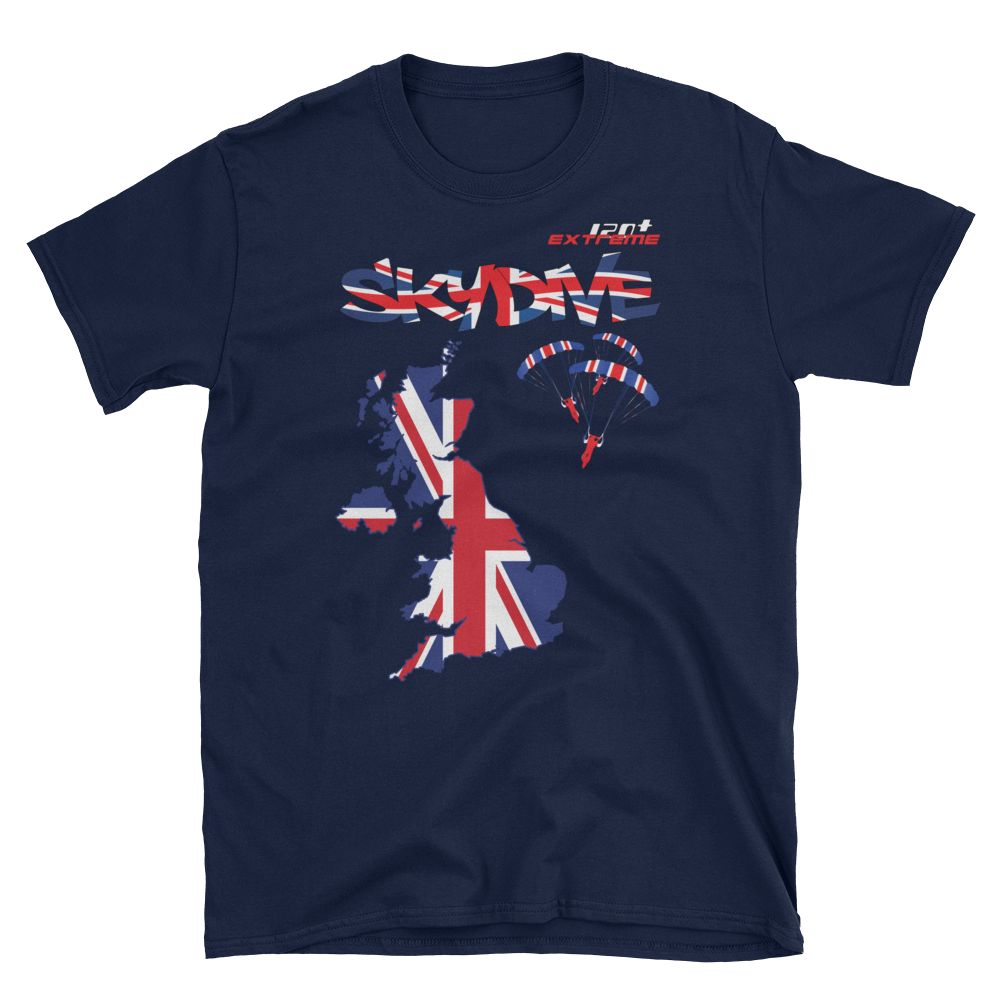 Skydiving T-shirts - Skydive World - The United Kingdom (UK) - Cotton Tee -, Shirts, Skydiving Apparel, Skydiving Apparel, Skydiving Apparel, Skydiving Gear, Olympics, T-Shirts, Skydive Chicago, Skydive City, Skydive Perris, Drop Zone Apparel, USPA, united states parachute association, Freefly, BASE, World Record,