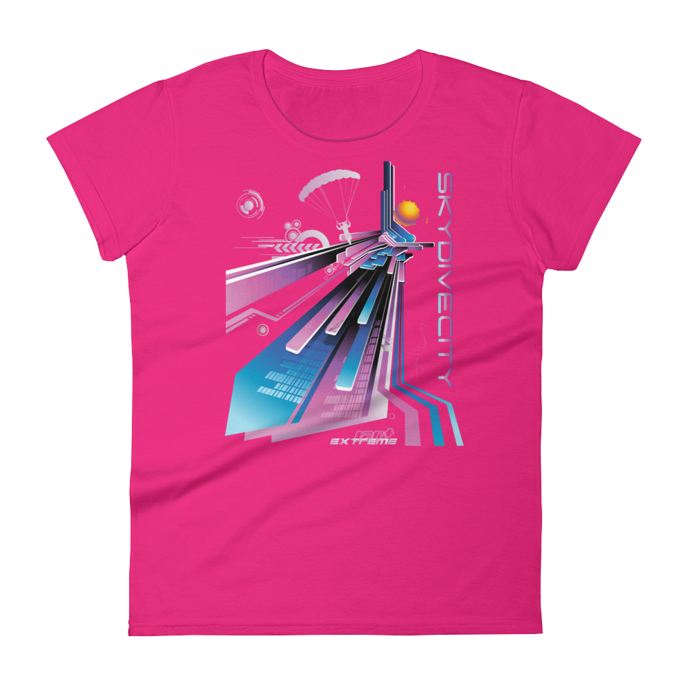 Skydiving T-shirts Skydive City - Flamingo - Women`s Colored T-Shirts, Women's Colored Tees, eXtreme 120+™ Skydiving Apparel, Skydiving Apparel, Skydiving Apparel, Skydiving Gear, Olympics, T-Shirts, Skydive Chicago, Skydive City, Skydive Perris, Drop Zone Apparel, USPA, united states parachute association, Freefly, BASE, World Record,