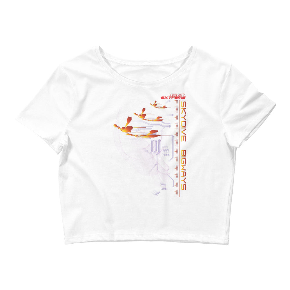 Skydiving T-shirts Women`s Crop Top - Skydive BIGWAYS -, , Skydiving Apparel, Skydiving Apparel, Skydiving Apparel, Skydiving Gear, Olympics, T-Shirts, Skydive Chicago, Skydive City, Skydive Perris, Drop Zone Apparel, USPA, united states parachute association, Freefly, BASE, World Record,