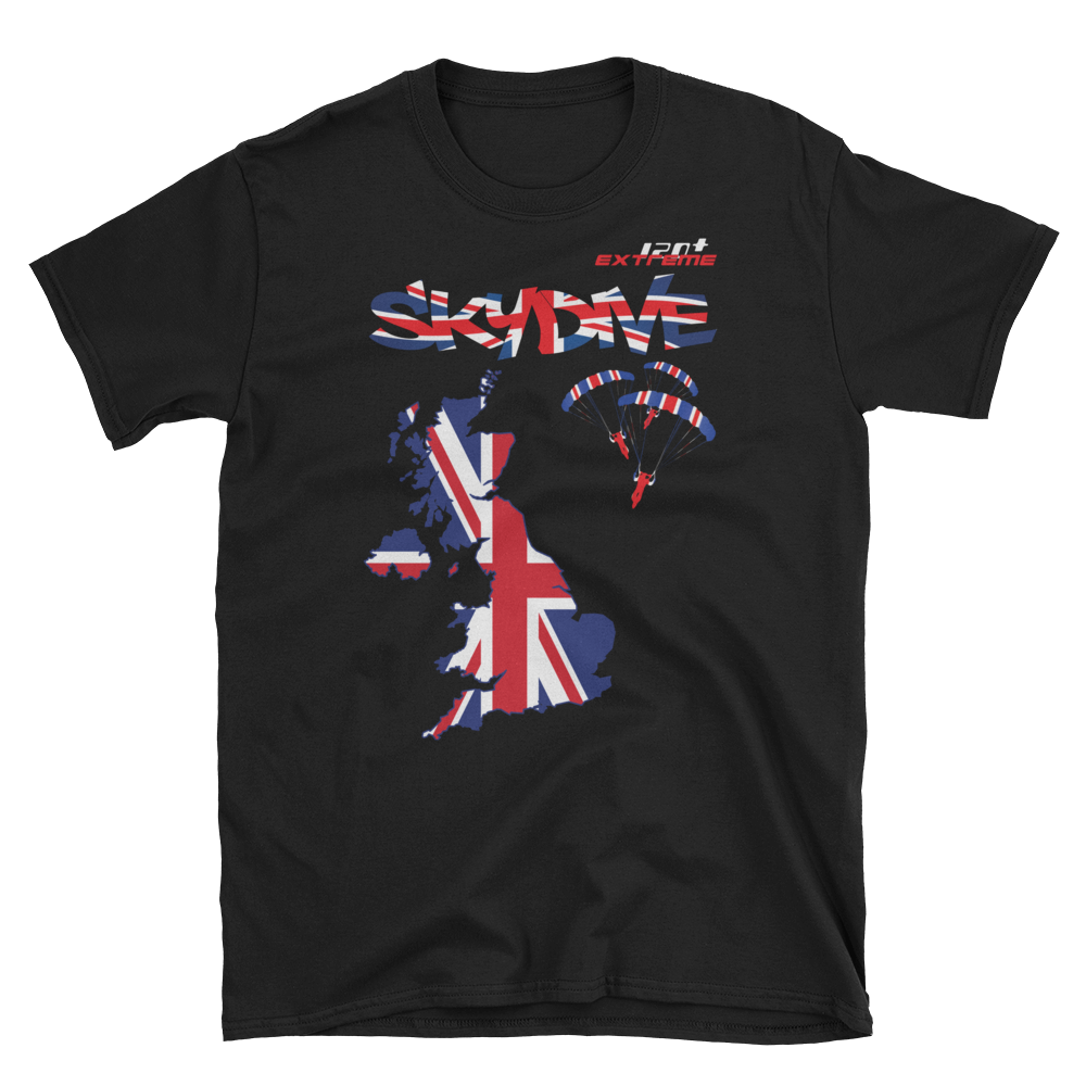 Skydiving T-shirts - Skydive World - The United Kingdom (UK) - Cotton Tee -, Shirts, eXtreme 120+™ Skydiving Apparel, eXtreme 120+™ Skydiving Apparel, Skydiving Apparel, Skydiving Gear, Olympics, T-Shirts, Skydive Chicago, Skydive City, Skydive Perris, Drop Zone Apparel, USPA, united states parachute association, Freefly, BASE, World Record,