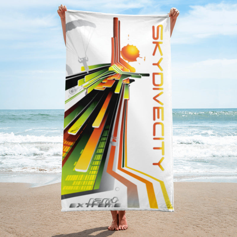 Skydiving T-shirts SkydiveCity Sunrise - Beach Towel, Beach Towel, eXtreme 120+™ Skydiving Apparel, Skydiving Apparel, Skydiving Apparel, Skydiving Gear, Olympics, T-Shirts, Skydive Chicago, Skydive City, Skydive Perris, Drop Zone Apparel, USPA, united states parachute association, Freefly, BASE, World Record,