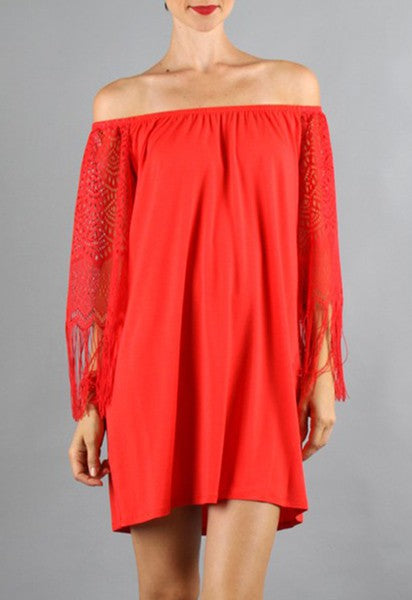 FARRAH OFF SHOULDER DRESS (Red)- VD9215