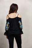 GANET OPEN SHOULDER TOP (Black)-CVT1529