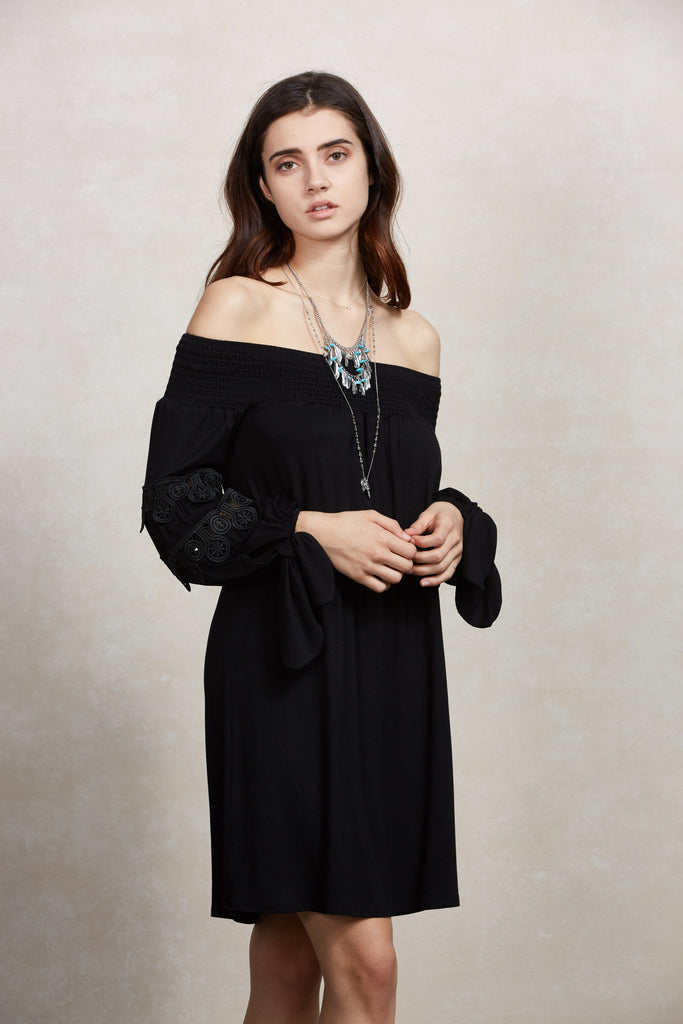 KARISSA OFF THE SHOULDER DRESS (Black)-VD1721