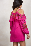 LEELA OPEN SHOULDER DRESS (Magenta)-CVD1504