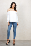 CHERRIES OFF SHOULDER TOP (White)-CVT1661